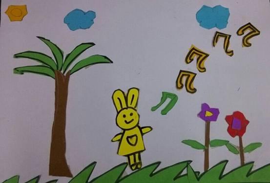 点赞剪贴画-)班:王思敏《唱歌的兔子》   指导老师:贺文娟   作者:四(   )班: